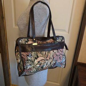 Handbags - Vintage Floral Tapestry brown trim purse